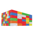 stack of colorful cargo containers with vector image vector image