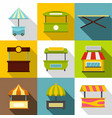 street stall icon set flat style vector image vector image