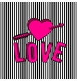 stylish love 3d text sign vector image vector image