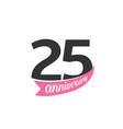 twenty five anniversary logo number 25 vector image vector image