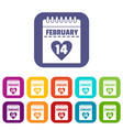 valentines day calendar icons set flat vector image