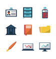 white background with business icons vector image vector image