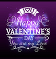 white valentine day typography banner vector image vector image