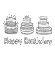 hand drawn set birthday elements big celebration vector image