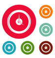 clock deadline icons circle set vector image