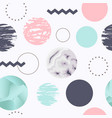 abstract seamless pattern with circles memphis vector image vector image