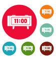 alarm clock retro icons circle set vector image vector image