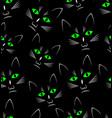 black background with black cats heads seamless vector image vector image
