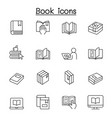 book icons set in thin line style vector image