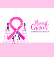 breast cancer awareness girl charity team concept vector image