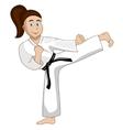 Cartoon Girl is dressed in kimono kicks vector image
