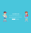 children day web banner with playful boy and girl vector image vector image