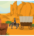 cowboy on horse with carriage vector image vector image