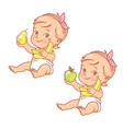 cute little bagirl hold apple banana and pear vector image