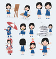 cute little girl blue dress character set vector image vector image