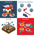 czech republic 4 isometric icons square vector image vector image