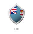 fiji flag on metal shiny shield vector image vector image