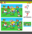 find differences game with animals playing soccer vector image vector image
