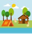 forest cottage house natural landscape vector image