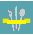 Fork spoon and knife inside yellow ribbon Menu vector image vector image