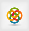 four interlocked circles in gradient rainbow vector image vector image