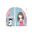 girl and cat at the window vector image vector image