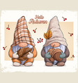 gnomes in autumn disguise with nuts and leaf vector image vector image