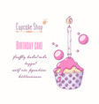 hand drawn cupcake special birthday flavor vector image