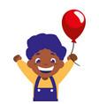 happy boy holding balloon decoration vector image