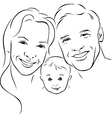 happy family - black outline vector image