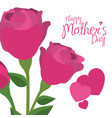 happy mothers day pink roses hearts decorative vector image vector image