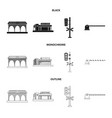 isolated object of train and station symbol vector image