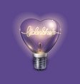 light bulb heart shaped on violet background vector image vector image