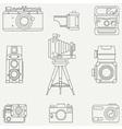 Line flat icon set with retro analog film vector image vector image