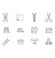 lineart sewing tools cloth tailoring craft sew vector image