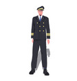 man pilot in uniform male captain standing pose vector image vector image