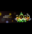 merry christmas and happy new year 2020 - shining vector image vector image