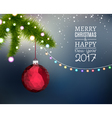 Merry Christmas branch fir with hanging christmas vector image