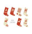 merry christmas card christmas stockings vector image