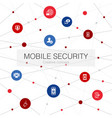 mobile security trendy web template with simple vector image vector image