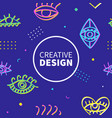 neon eyes shapes fashion banner template vector image