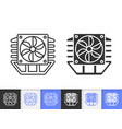 processor cooler simple black line fan icon vector image