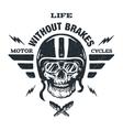 Racer skull in helmet vector image vector image