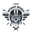 Racer skull in helmet vector image
