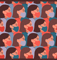 seamless pattern with girls wearing face medical vector image