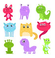 set of multi-colored cartoon cute monsters not vector image vector image
