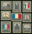 set of postage stamps on the travel theme vector image vector image