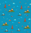 ships and lighthouses in vastness sea vector image vector image