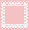 square frame with lace pattern on edge on pink vector image vector image