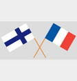 the crossed france and finland flags vector image vector image